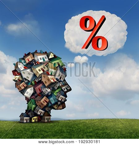 Mortgage rate plan and planning for home lending interest percentage rates as a group of houses shaped as a human head with a percent icon inside a thought bubble as a real estate finance metaphor with 3D illustration elements.