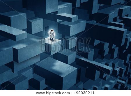Medicine researcher and medical challenge concept as a doctor or scientist standing on a complicated structure as a healthcare research symbol with 3D illustration elements.