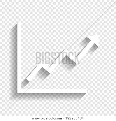 Growing bars graphic sign. Vector. White icon with soft shadow on transparent background.
