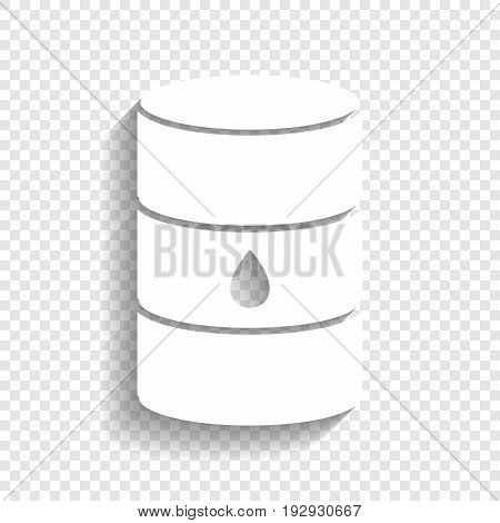 Oil barrel sign. Vector. White icon with soft shadow on transparent background.