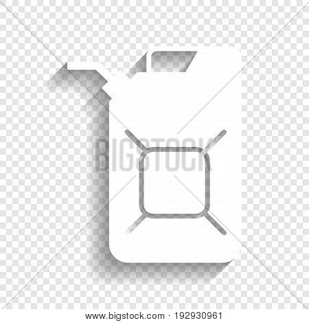 Jerrycan oil sign. Jerry can oil sign. Vector. White icon with soft shadow on transparent background.
