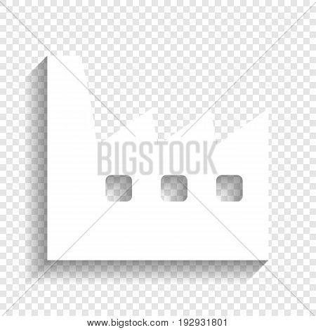 Factory sign illustration. Vector. White icon with soft shadow on transparent background.