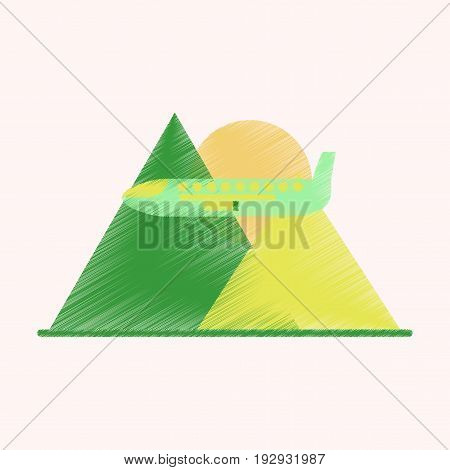 Flat Icon in Shading Style Plane in the mountains