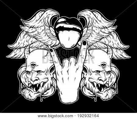 Vector hand drawn illustration of rock hand with mouth and tongue devil and wings. Tattoo artwork. Template for card poster bunner print for t-shirt.