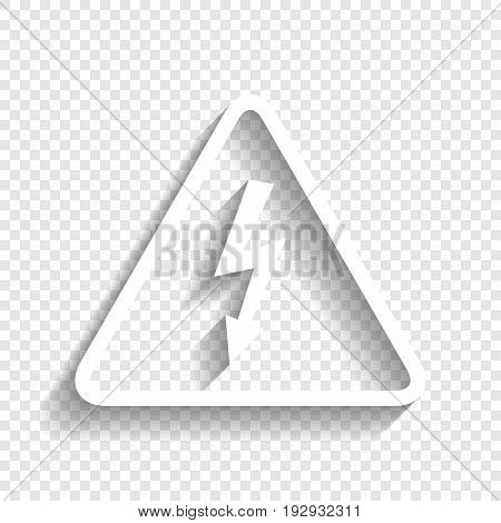 High voltage danger sign. Vector. White icon with soft shadow on transparent background.