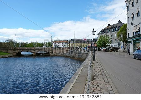 GOTHENBURG SWEDEN - MAY 2017: Canal embankment and a bridge in Gothenburg Sweden.