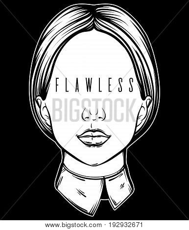 Vector illustration with portrait of woman with inscription