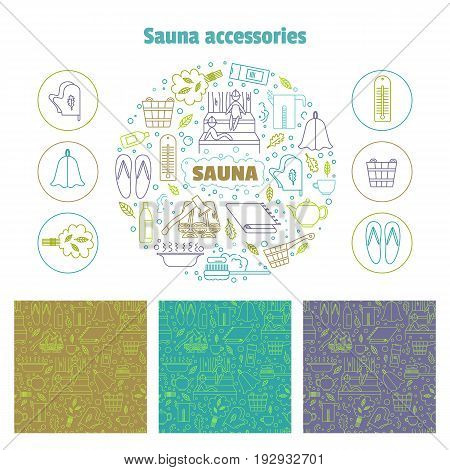 Set consisting of a round emblem, icons and line seamless patterns. Vector illustration.Accessories for sauna and bath.