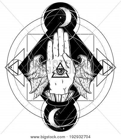 Vector hand drawn illustration of hand of witch with wings. All seeing eye pyramid symbol. Tattoo hand sketched artwork. All seeing eye pyramid symbol. Template for card poster banner print for t-shirt.