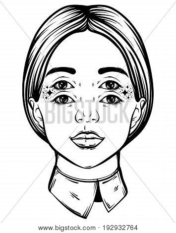 Vector hand drawn illustration of young pretty girl with four eyes. Tattoo hand sketched artwork. Template for card poster banner print for t-shirt.