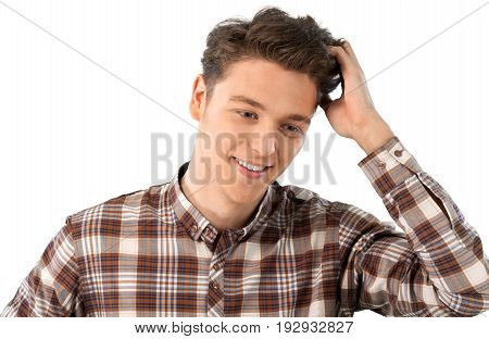 Portrait man thinks young adult man face background day