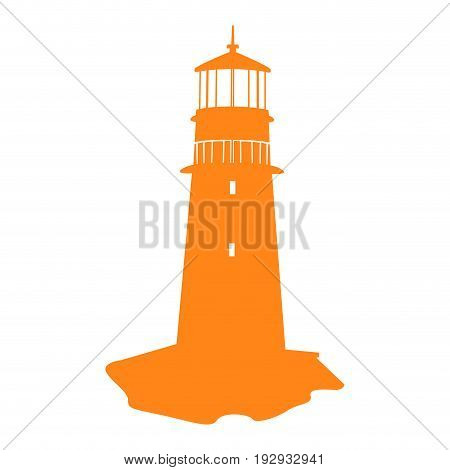 Isolated silhouette of a lighthouse, Vector illustration