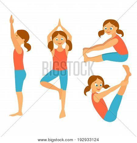 Yoga kids set.Vector illustration. Yoga Asanas. Exercises for a healthy health.Pashimottanasana, paripurna navasana, tadasana, vrikshasana.