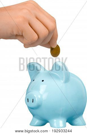 Hand bank pig putting coin piggy white
