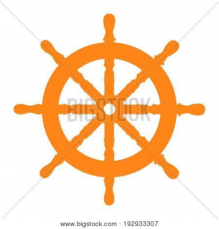 Isolated silhouette of a ship wheel, Vector illustration