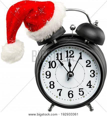 Christmas santa clock hat alarm color image