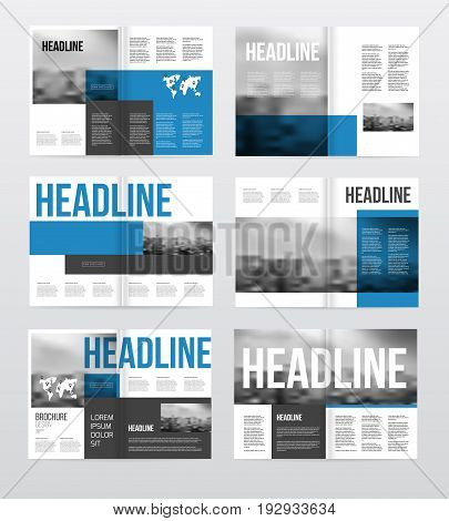 Magazine or catalog template vector illustration. Brochure design set. Cover with photo and text.