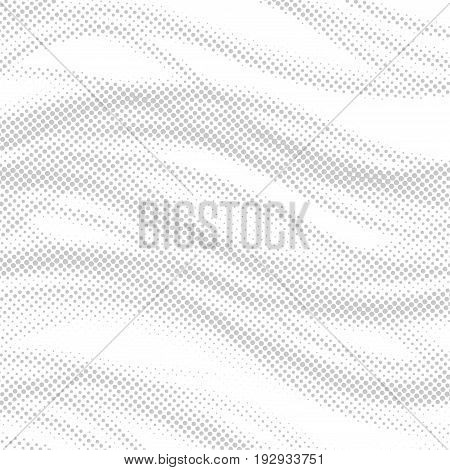 Dotted swoosh halftone noise abstract layout. Swoosh wave comic book page style grain graphic background. Vector illustration