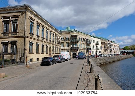 GOTHENBURG SWEDEN - MAY 2017: Embankment at the canal in Gothenburg Sweden