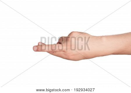 Man crossed his fingers on the hand isolated on white background
