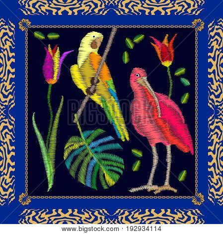 Silk scarf pattern with yellow parrot, ibis, palm leaf and flowers. Colorful composition with bohemian motifs.