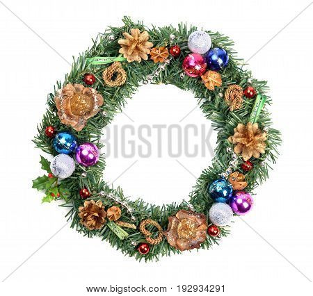 Christmas wreath with docoration, on a white background