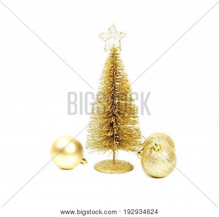 Golden Christmas tree with tree balls, isolated on white