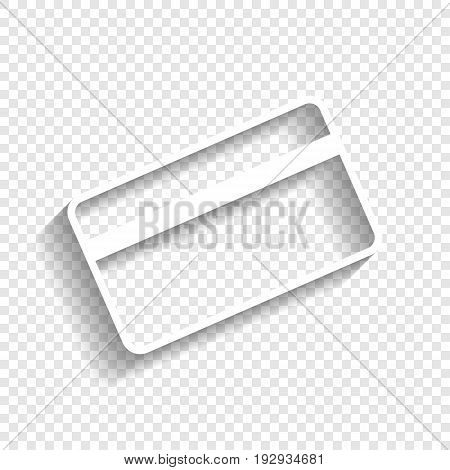 Credit card symbol for download. Vector. White icon with soft shadow on transparent background.