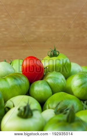 Red And Green Tomatoes. Small Red Ripe Tomato On Immature Green Tomatoes On Blurred Wooden Backround With Copyspace And Close Up.