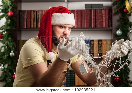 Lights christmas light man fix trying one person