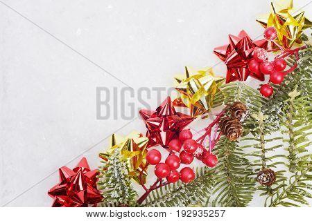 Christmas green framework on a white background