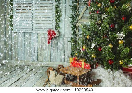 Christmas tree gifts sleigh christmas tree new year christmas lights