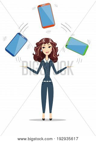 Abstract Businesswoman holding electronic gadget. Women in business. For use in presentations. Stock flat vector illustration