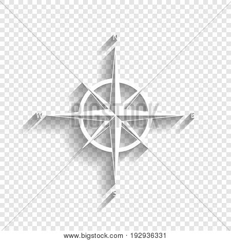 Wind rose sign. Vector. White icon with soft shadow on transparent background.