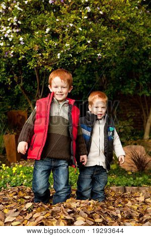 Two happy, smiling brothers standing in a pile of autumn leaves in a park or garden