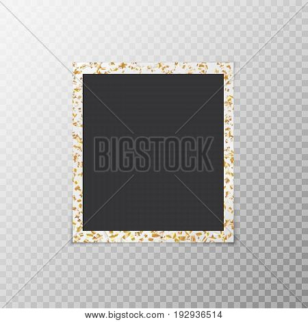 Photo frame with flying confetti in the form of gold stars close-up on a translucent background