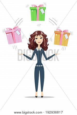 Abstract Businesswoman holding gift box with bow. Women in business. For use in presentations. Stock flat vector illustration