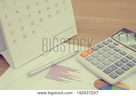 Closed up and soft focus on calculator for summary income or profit at office desk with pen laying on paperwork and calendar concept.