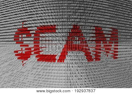 SCAM as a binary code 3D illustration