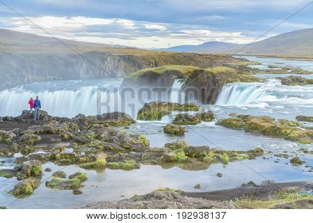 View of amazing Godafoss waterfall in Iceland