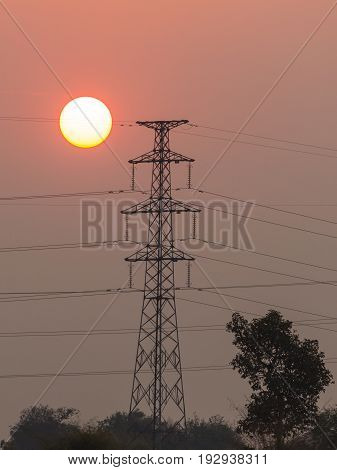 Sunrise with High Electric Power Poles in Vientiane, Laos