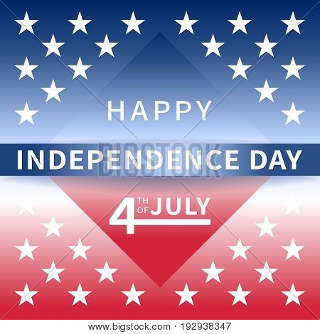 Happy Independence Day USA July 4th background with a red-blue rhombus, stripe and white stars