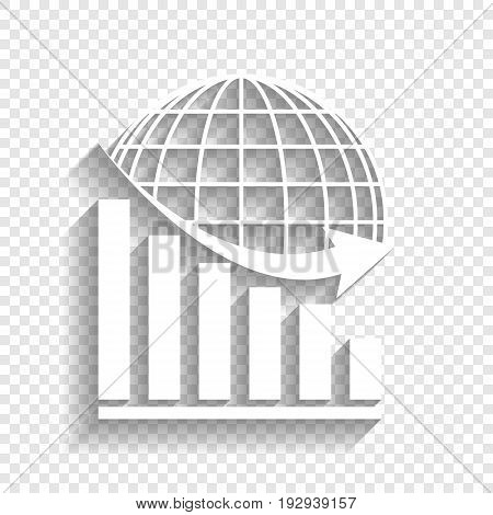Declining graph with earth. Vector. White icon with soft shadow on transparent background.