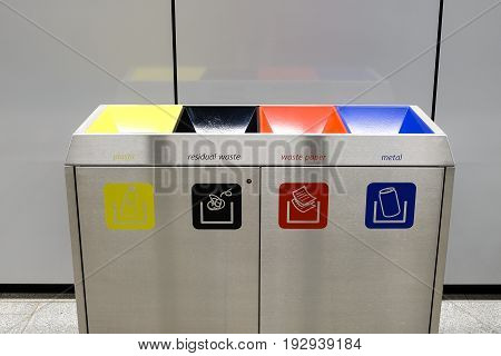 Metal recycling and garbage bins indoors. Recycling.