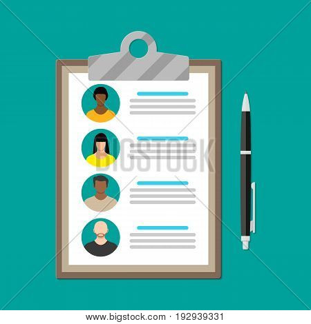 Human resources management concept, searching professional staff, work. Found right resume. Clipboard and pen. Vector illustration in flat style