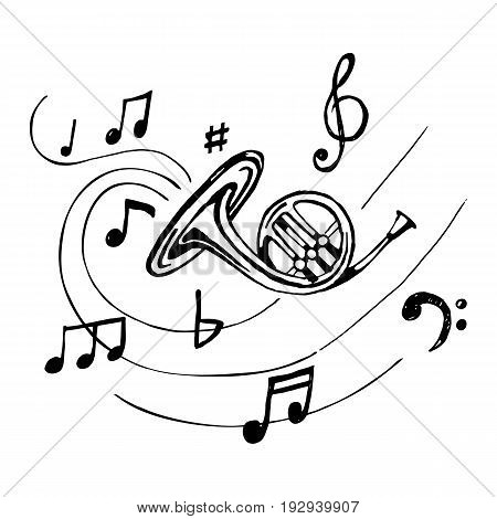 French horn with notes. Vector. Hand-drawn illustration of musical wind instrument.