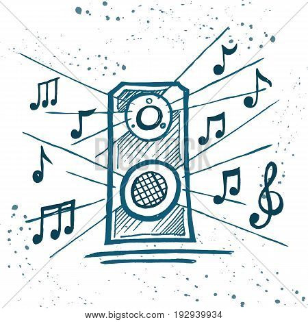 Music speakers play music. Box and notes. Hand drawn vector sketch.