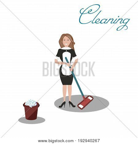 Cute cleaner in dark dress and white apron with the tools for housekeeping: a burgundy bucket with soapy foam, MOP with blue handle and cloth. White background. Vector illustration. Cleaning