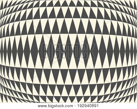 Abstract background of distorted geometric shapes. Distortion of space. Convex pattern.