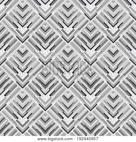 Seamless background. Retro wallpaper. Memphis design. Avant-garde graphic. Vintage ornament. Bauhaus art. Black and white backdrop. Hipster illustration. Monochrome  pattern. Geometry print. Vector.